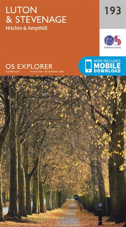 OS Explorer 193 - Luton Stevenage, Hitchin & Ampthill